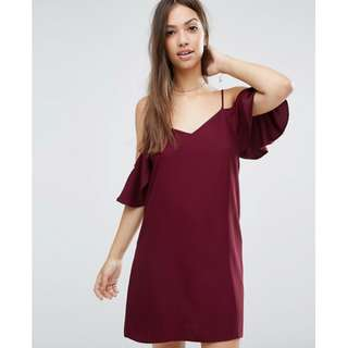 BNWOT ASOS Cold Shoulder Dress in Burgundy