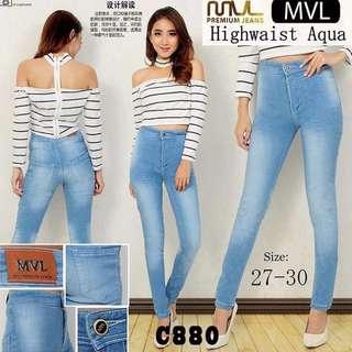 celana HW jeans aqua