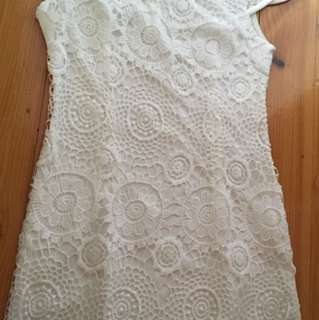White lace and pearls dress