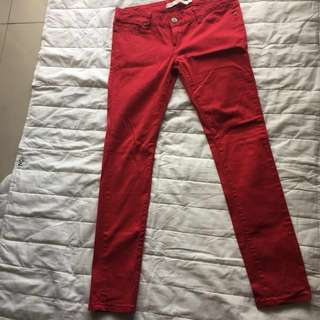 Skinny jeans red size 36, us size 4 blocking color