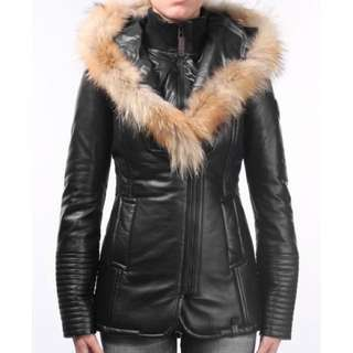 Rudsak Leather Long Fur Trimmed Jacket