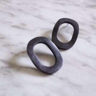 韓國購入木質復古圓圈耳環