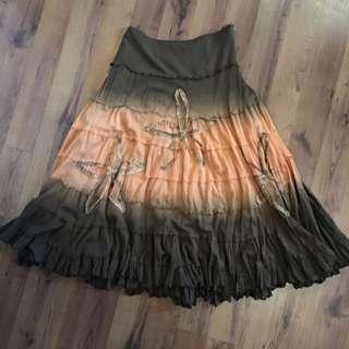 Midi Brown And Amber Skirt