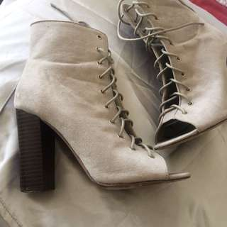 Grey Lace Up ankle boots