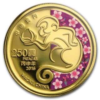 (原認購價$7230)2016 澳門 猴年 生肖 紀念金幣