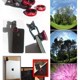 Red universal Phone CAMERA CLIP LENS 3-in-1 Fish Eye