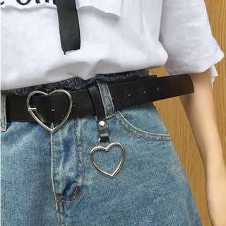 Silver Leather Heart Buckle Belt - Korean Fashion
