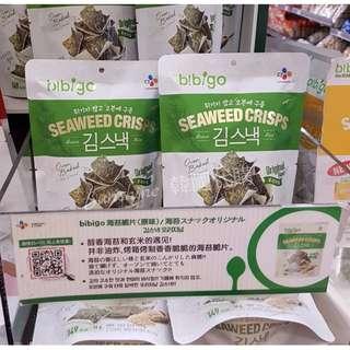 現貨 韓國 CJ BIbigo 玄米海苔脆片 餅乾 原味 辣味 燒烤 36g