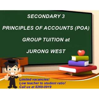 2018 Principles of Accounts (POA) 中学会计班 Group Tuition for Secondary 3 at Jurong West (Instagram Account: poa_withpinnaclelearninghub)