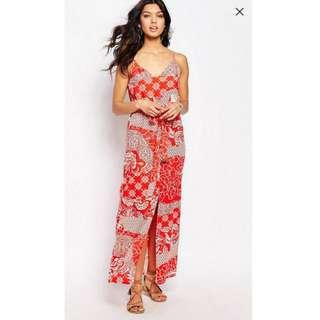 🚚 River Island Printed Maxi Dress with Belt UK6