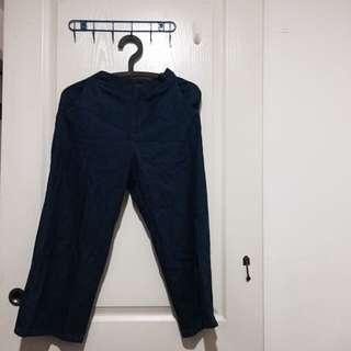 深藍色俏皮寬褲