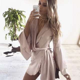 Pink/nude satin tie dress