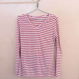 White And Red Stripes Top