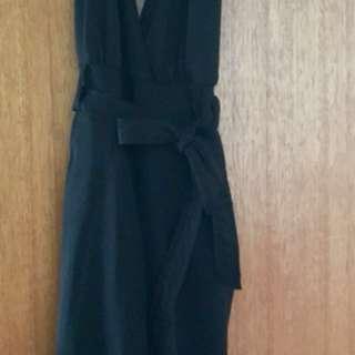 Black halter pantsuit