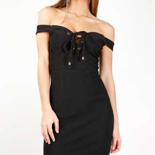 black strapless lace front dress