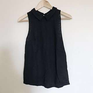 [TOP SHOP] Black collar floral sleeveless top