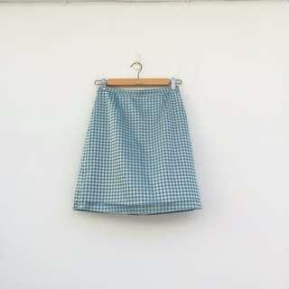 二手 格紋 亮淺藍色 短裙