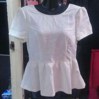 White Peplum With Price Tag #20under