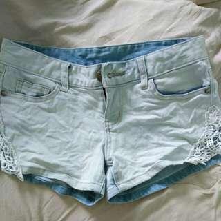 $7 • light blue denim shorts