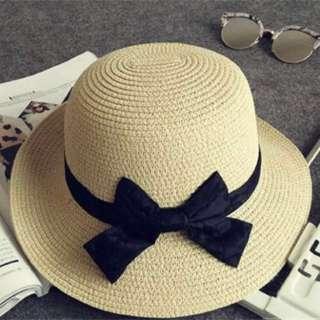 Women straw bowler boater sun hat round flat caps wide brim summer beach hat