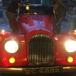Vintage Morgan car and postman bicycle for rent