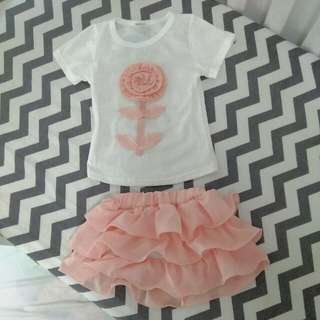New Toddler Girl Clothes. T-shirt And Skirt Set