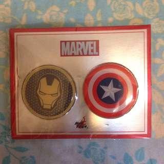 Marvel 襟章 美國隊長 鋼鐵人