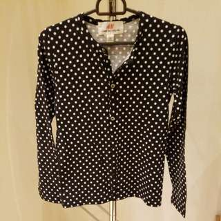 H&M comme des garcons polka dots navy cardigan