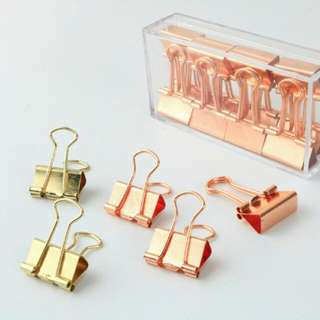 [Set of 12] Metal Wire Gold/Rose Gold Paper Clip/ Stationery/ Binder/ Office