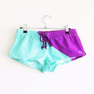 Rusty Size 8 Boardshorts Neon Purple and Blue Drawstring Hotpants