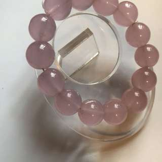 粉玉髓水晶手鍊 pink chalcedony bracelet ø15mm