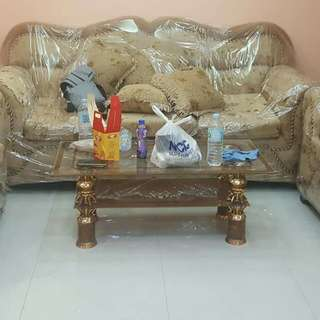 Brand new Sofa set with glass center table