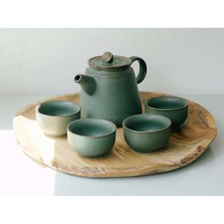 Green Lotus Tea Set for 4 with Wooden Tray