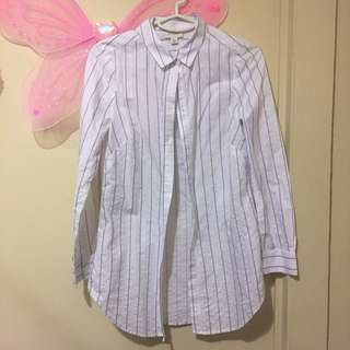 Witchery Button Up Shirt with Blue Stripes
