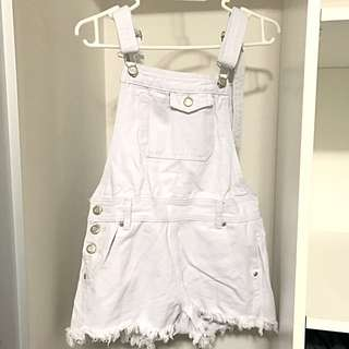 Boohoo White Denim Dungaree Shorts