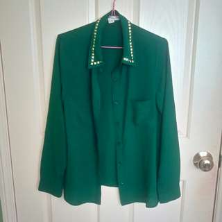 Forever21 Green/gold stud blouse