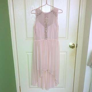 Pink high low chiffon dress size 10