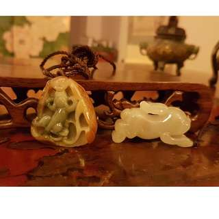 Set of Grade A Jadeite Pendant Pixiu and Rabbit