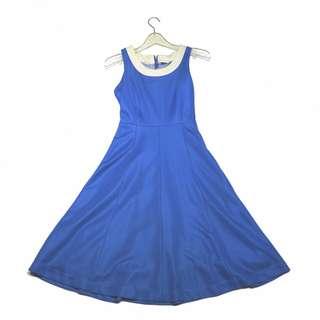 「寶藍色 運動材質 古著 洋裝 無袖@一中 舊到過去 胸: 33cm 長: 98cm」
