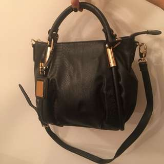 Charles & Keith black and gold faux leather handbag