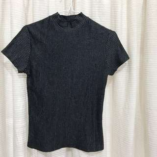 Black-Silver Stripes Turtleneck T-Shirt