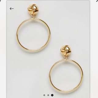 ASOS Knotted Hoop Earrings Gold