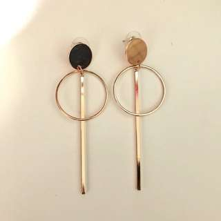 Rose Gold Circle Bar Drop Earrings
