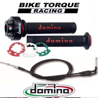 🇮🇹 domino Fast Throttle With Grip And Twin Cable. •BLACK & GOLD•