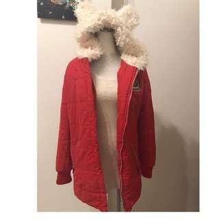 熊耳朵 紅色中長版保暖外套