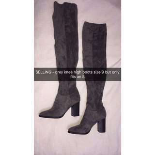 Grey knee high lipstick boots