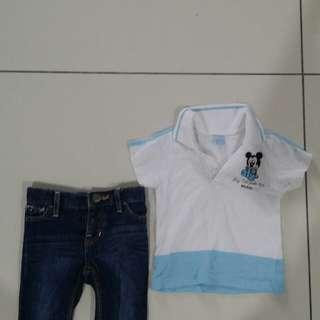 Set Disney tshirt &  Authentic baby Gap jeans 3-6Month
