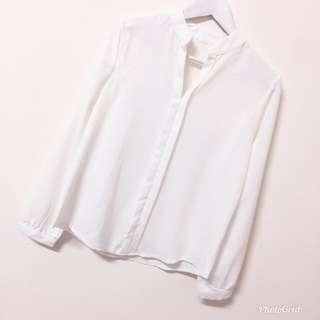 V領開襟白色雪紡襯衫上衣