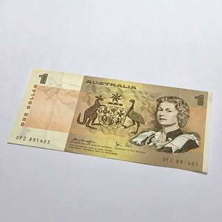 絕版 澳洲$1紙幣 Australian one dollar paper note AUD