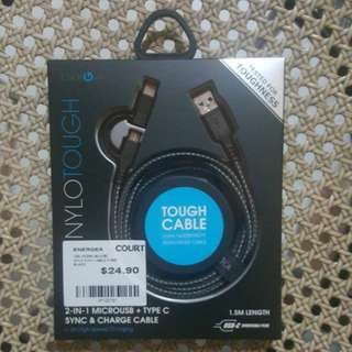 ENERGEA MICROUSB TYPE-C 1.5M TOUGH CABLE